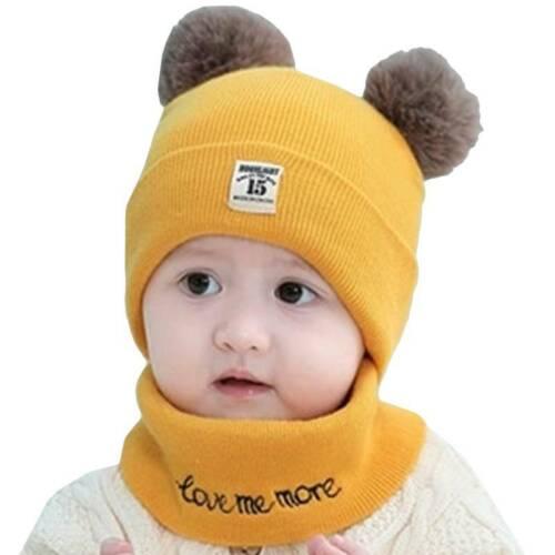 Kids Baby Boys Girls Winter Pom Bobble Knitted Beanie Hat Scarf Neck Warmer Set