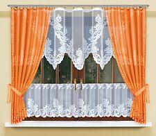 Modern, jacquard set net curtains with curtain tape WHITE/ORANGE