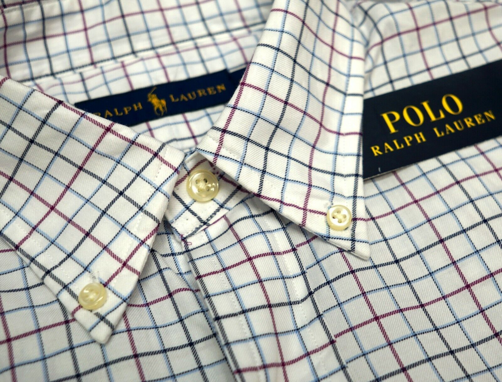 e0594791 NWT Polo Ralph Lauren Long Sleeve Shirt Mens M XL White Burgundy bluee  Plaid. Ralph Lauren Slim Fit ...