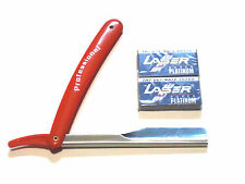 SINGLE EDGE OLD SCHOOL RED SAFETY RAZOR + 10 DOUBLE EDGE RAZOR BLADES SET