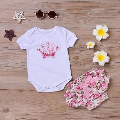 2PCS Newborn Infant Baby Girls Outfit Clothes Romper Jumpsuit Bodysuit+Pants Set
