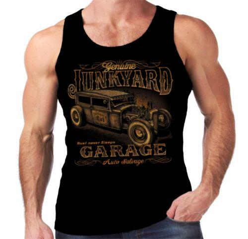 Velocitee Mens Vest Junkyard Hot Rat Rod Rockabilly Retro Ford Sedan W15747