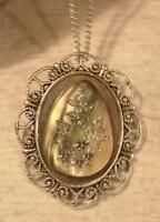 Scallop Rim Silvertone Creamy Faux-abalone Flowers & Butterflies Necklace Pin