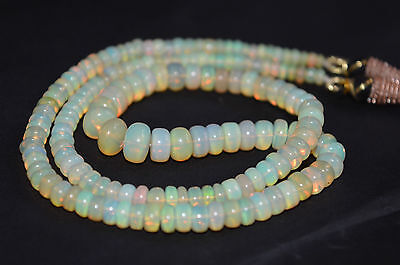 NATURAL ETHIOPIAN OPAL Beads Necklace 48CT Welo Fire Black Ethiopian Opal Tumble Cabochon Beaded Necklace 18Inches Length Opal Gemstone