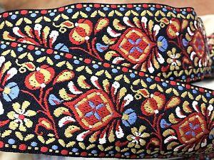Vintage-Antique-Jacquard-2-034-Cotton-Trim-Ribbon-Renaissance-SCA-1y-Made-in-France