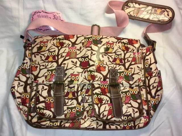 Women Designer Oilcloth Satchel Messenger Saddle Bag School Crossbody Owl Beige