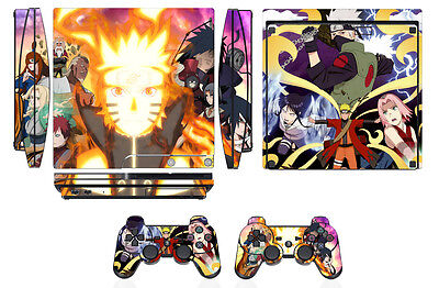Skin Sticker Cover PS3 PlayStation 3 Slim and 2 controller skins Naruto Q274