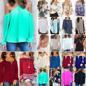 Women-039-s-Cold-Off-Shoulder-Tops-Long-Sleeve-Loose-Casual-Shirts-Blouse-Tee-Summer