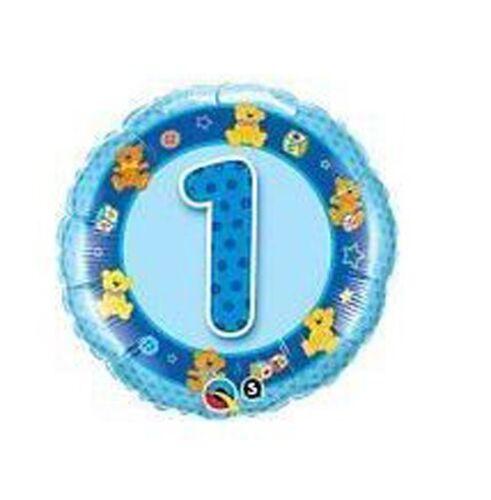 """18/"""" globo de la hoja impresa Azul 1st Cumpleaños Con Peluches"""