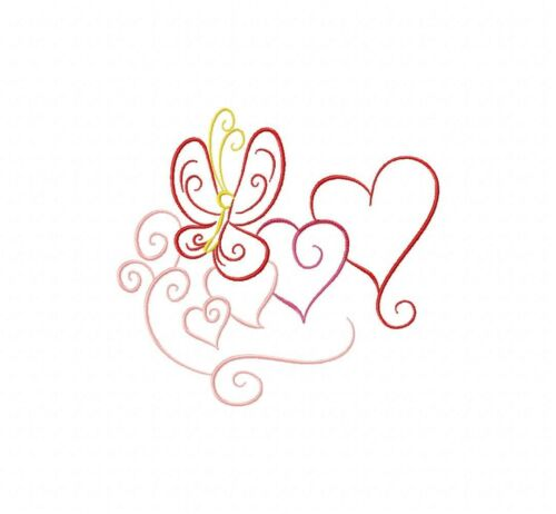 Contorno de color de San Valentín 10 bordado a máquina Diseños En Cd En 4 Tamaños