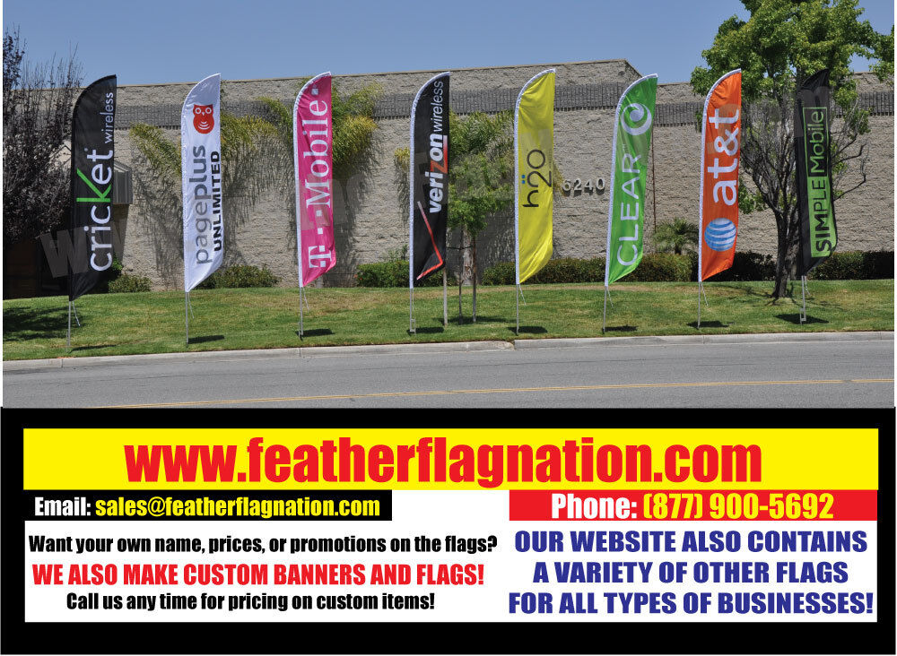 alt to FEATHER FLAG SET NEW CUSTOM Simple Mobile 3ftx8ft Banner Promotion