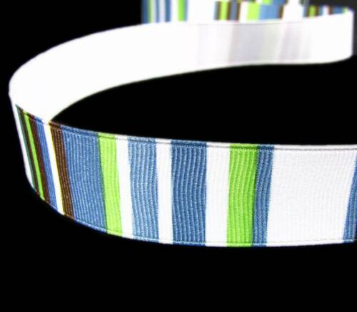 "5 Yards Blue Brown Green White Striped Grosgrain Ribbon 7//8/""W"