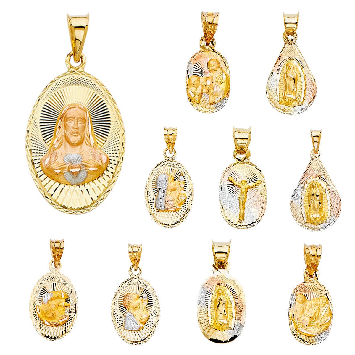 14K Tri color gold Diamond Cut Jesus Stamp Religious Pendant Collection