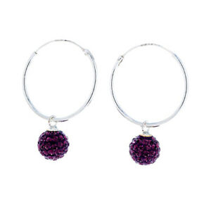 Sterling silver lightweight 25mm hoops with triple crystal glitter balls