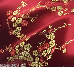 BLACK CHERRY BLOSSOM DOGWOOD BROCADE FAUX SILK MATERIAL FABRIC BTY DRESS BLOUSE