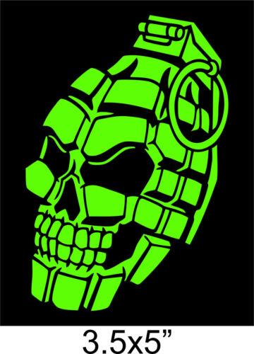 "GRENADE SKULL STICKER Hand PINEAPPLE SKELETON tactical 3.5x5/"" cut Vinyl Decal"