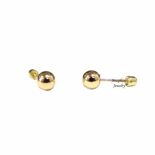 14k or massif jaune perle boule vissée dos clous d/'oreilles 2mm-8mm