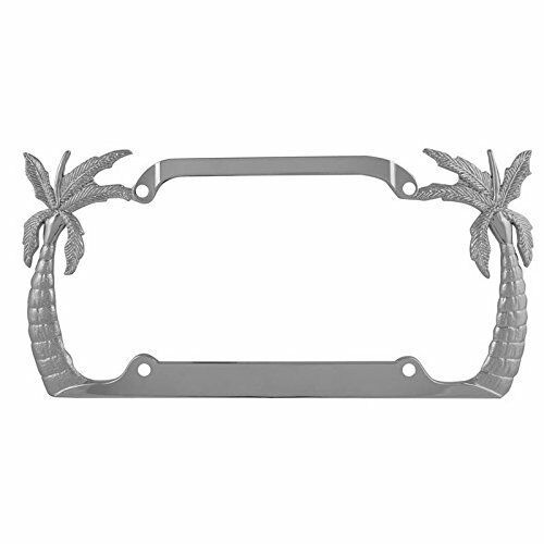 Decorative Silver License Plate Frame Palm Tree Chrome License Plate Frames
