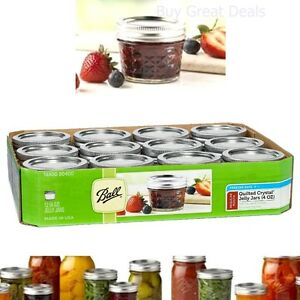 4 oz Ball Jar Glass Lid Crystal Jelly Jars, Quilted Set of 12 - New