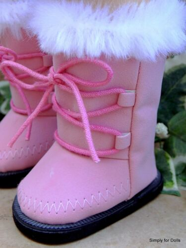 """PINK Suede Fur-Trimmed DOLL BOOTS SHOES fits 18/"""" AMERICAN GIRL Doll Clothes"""