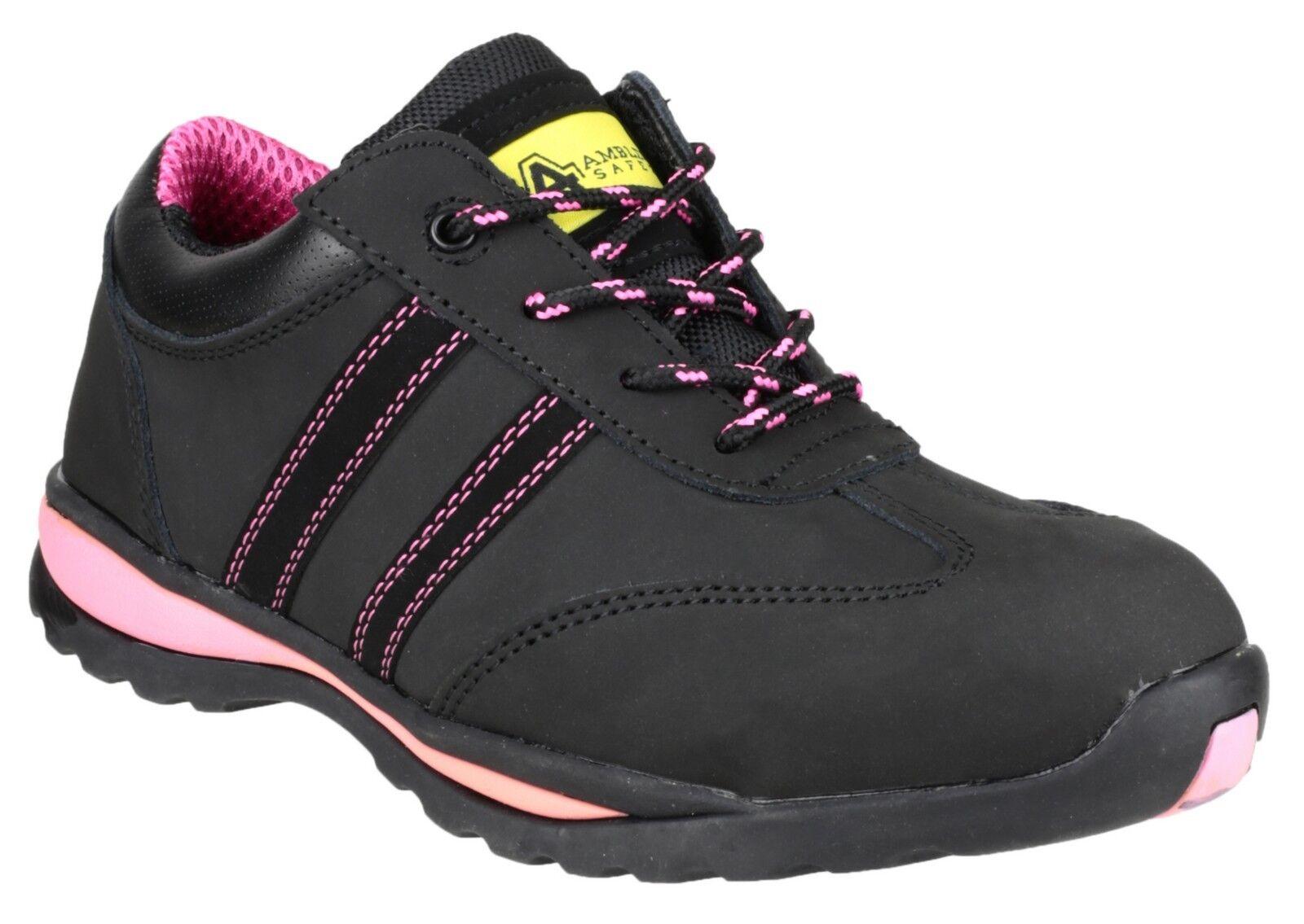 Amblers Safety femmes en cuir noir Sneaker Divers Divers Sneaker Taille FS47 d2ee56