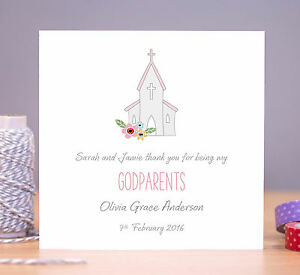 Handmade Personalised Godparent Thank You Card Godmother Godfather