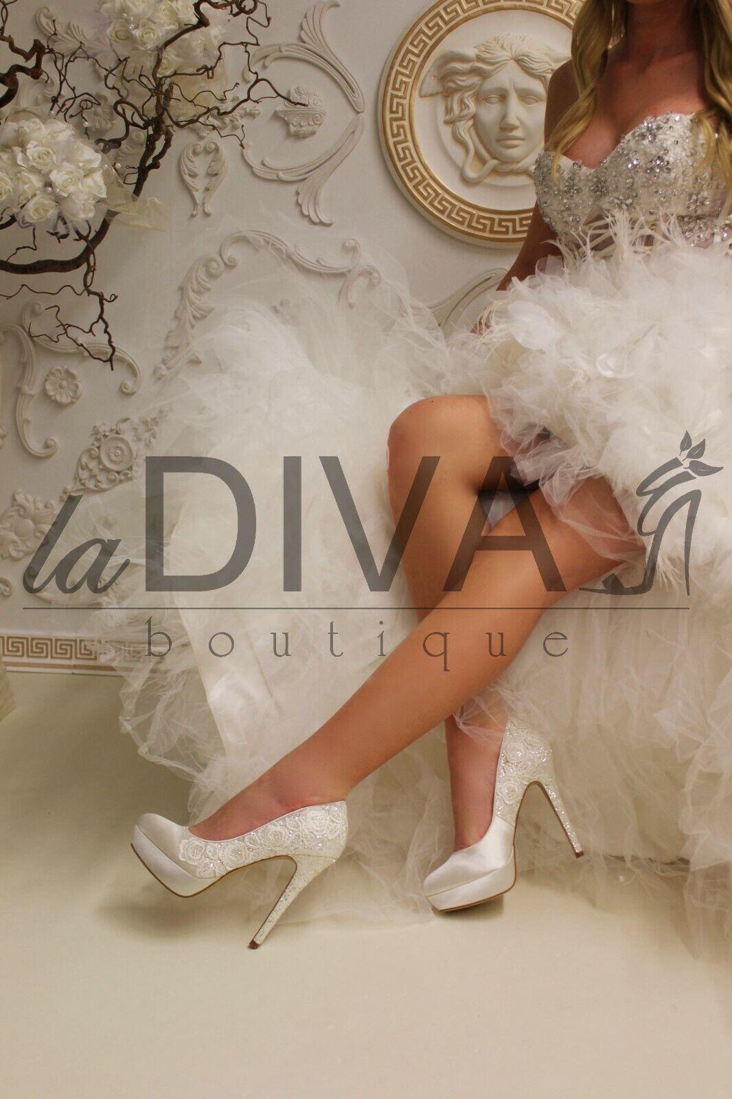 Menbur  Platform Pumps Glitter & real Embroidery 37 Ivory Silver Bridal shoes