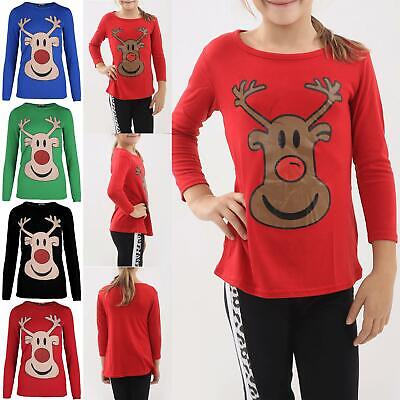 Kids Children Girls Reindeer Face Print Glitter Nose Cap Sleeve Christmas TShirt