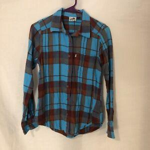 Kavu Womens Small Blouse Button Down Shirt Plaid Blue Red Long Sleeve  Cotton Top | eBay