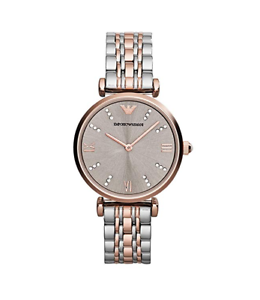 54a683d9e87 New Emporio Armani Classic Rose Gold Silver Stainless Steel Women s ...