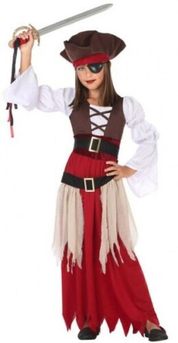 Girls Long Argh Pirate Halloween Carnival Book Day Fancy Dress Costume Outfit