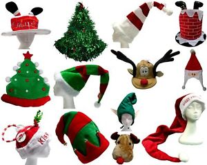 New Adults Unisex Christmas Novelty Hat Xmas Party Dress Up Costume Santa