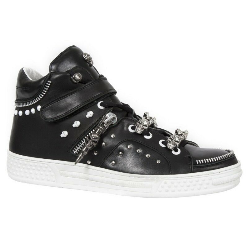 New Rock M.PS045-S3 Mens BLACK LEATHER Metal EBM  SNEAKERS UNISEX