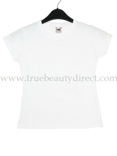 CHOOSE A SIZE FRUIT OF THE LOOM GIRLS WHITE PLAIN T-SHIRT PE SPORTS CASUAL TOP