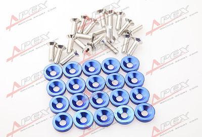 20 PC BLUE BILLET ALUMINUM FENDER/BUMPER WASHER/BOLT ENGINE BAY DRESS UP KIT