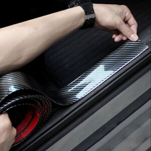 Car-Door-Sill-Protector-Carbon-Fiber-Front-Bumper-Corner-Guard-Strip-Trim-1m-3cm