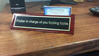 Funny Desk Plate For Boss - Gag Gift - Christmas Gift - Executive W/card Holder