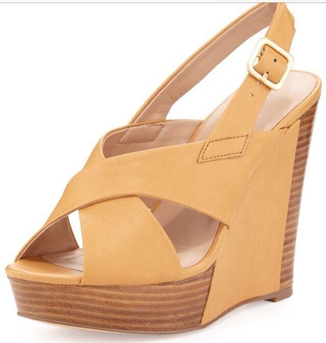 Charles David Damenschuhe Platform Beige Wooden Wedge Strap Sandale 8.5 135 SALE