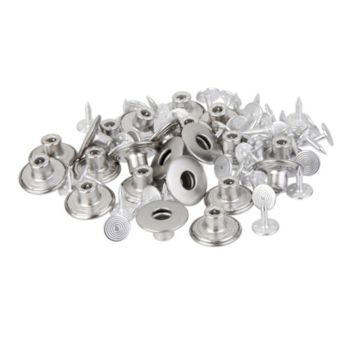 50x 14mm Hammer On Denim Jeans Buttons w// Tack Studs Repair Trousers Silver