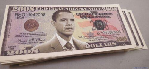WHOLESALE LOT OF 100 OBAMA FAKE MONEY 2008 DOLLAR BILLS USA PRESIDENT novelty