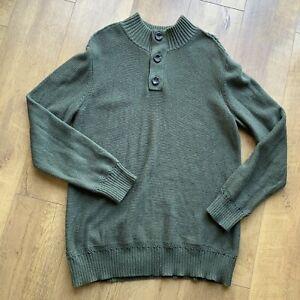 Fat Face Herren Feld grün Grobstrick Pullover Gr. XL 100% Baumwolle 1/3 Knopfverschluss