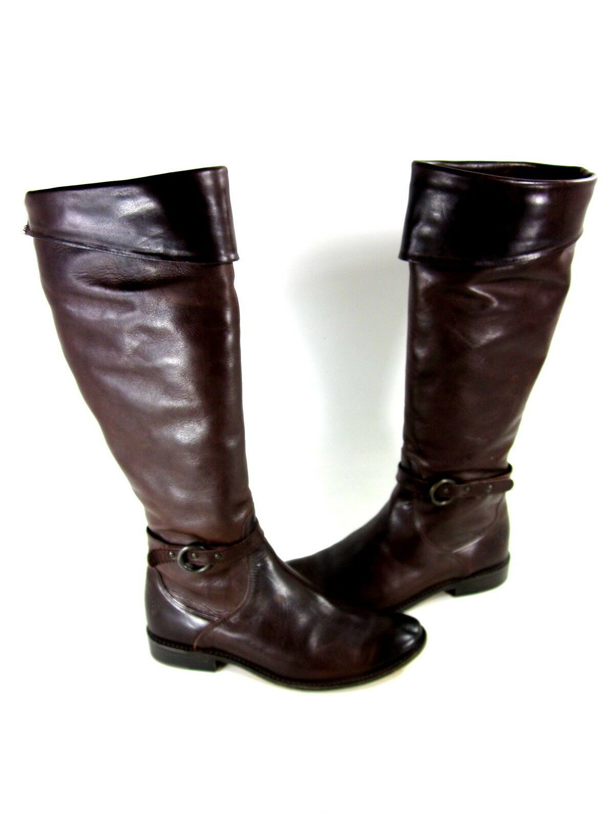 FRYE WOMEN'S SHIRLEY CUFFED FASHION RIDING BOOTS DARK BROWN LEATHER US SZ 6.5 M