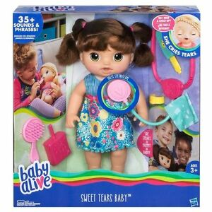 BABY ALIVE SWEET TEARS BABY - BROWN HAIR English/Spanish 35 + ...