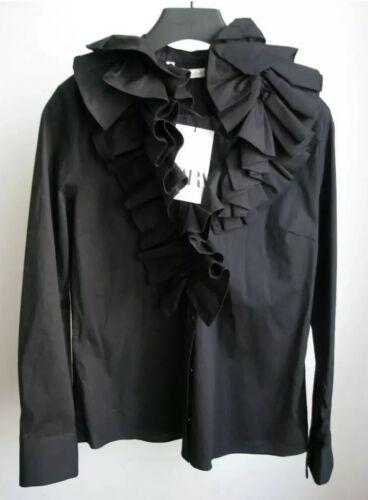 Zara Ruffled Poplin Shirt Blouse Top Long Sleeve Black S M