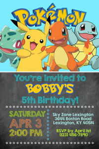 pokemon invitations personalized birthday party shipped or