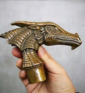 Old-Bronze-Hand-Carved-Birds-Dragon-Statue-Cane-Walking-Stick-Head
