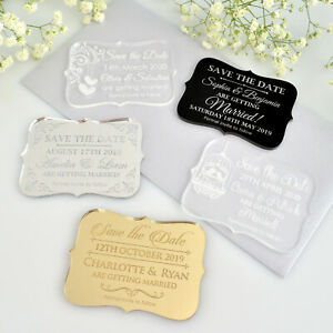 50x Personalised Favours Wedding Save the Date Fridge Magnets - Mini Invitations
