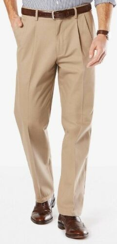 Clearance NWT MEN/'S DOCKERS SIGNATURE COTTON STRETCH KHAKI CLASSIC FIT PLEATED