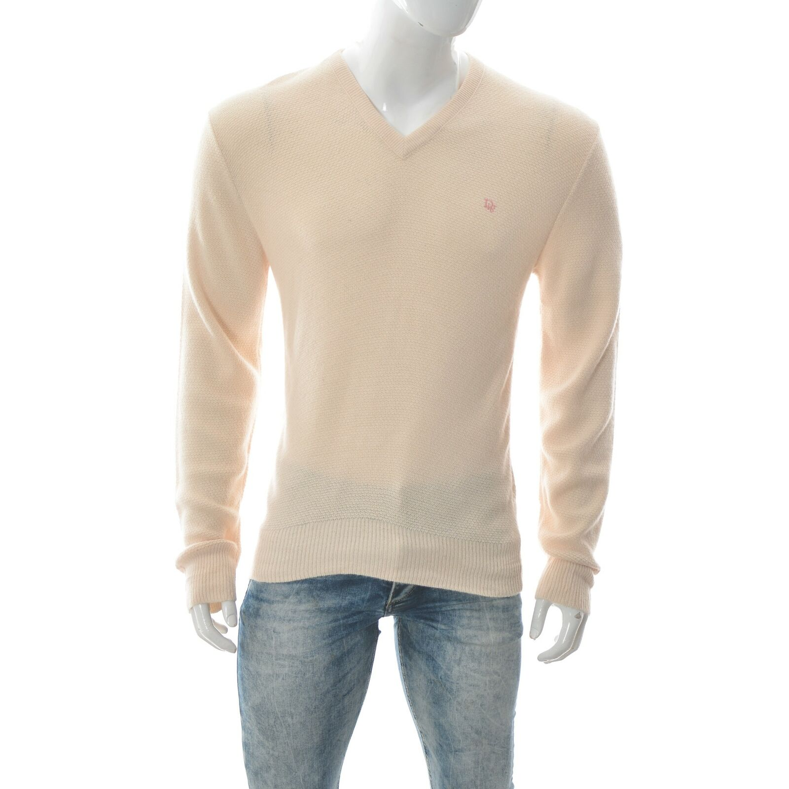 Christian Dior Men's V-Neck Sweater Long Sleeve Size L Orlon Acrylic Made in USA