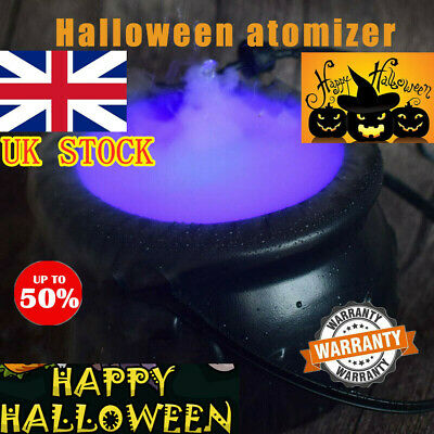 Cauldron Halloween Mister Mist Smoke Fog Machine Color Changing Party Prop Best